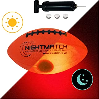 NIGHTMATCH Light Up Football Kids Edition INCL Ball Pump and Spare Batteries - Inside LED Lights up When Kicked - Glow in The Dark Football - Size 3 - Official Size & Weight
