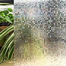 LQKYWNA Película De Ventana De Protección De Privacidad, Patrón De Mosaico 3D Película De Color Variable Autoadhesiva No Adhesiva para Ventanas Y Puertas De Vidrio para Baño (60x200cm)