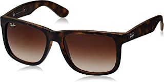 RB4165 Justin Sunglasses, Rubber Light Havana/Poly Brown Gradient, 55mm