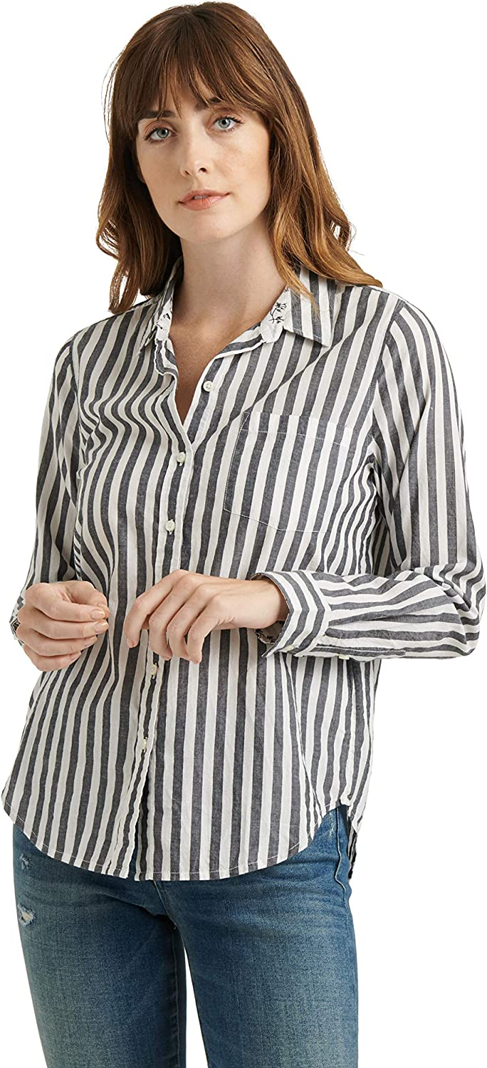 Lucky Excellence Brand Women's Long Sleeve Button One Classic Poc In a popularity Up Stiped