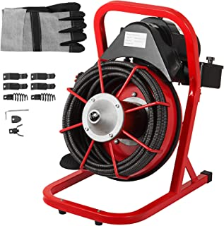 Mophorn 50 Ft x 1/2 Inch Drain Cleaner Machine fit 1 Inch (25mm) to 4 Inch(100mm) Pipes Drain Cleaning Machine Portable Electric Drain Auger with Cutters Glove Drain Auger Cleaner Sewer Snake