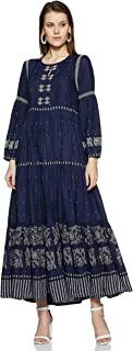 W for Woman Key Hole Neck Printed Midi Dress for Womens