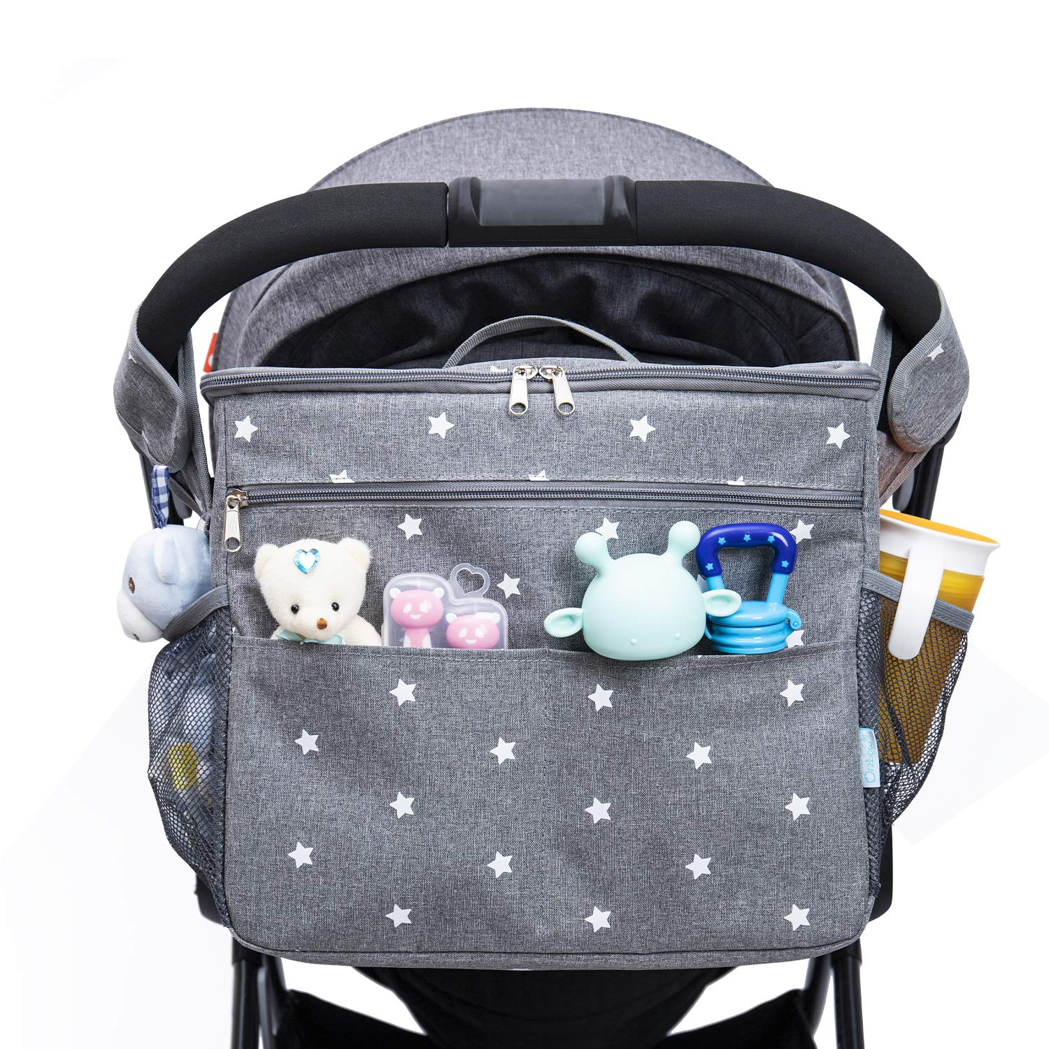 Orzbow Universal Parents Diaper Organizer Bag with Stroller Attachments. Large Strollers Insulated Baby Bag. 3 Ways to Carry - Shoulder, Messenger Bag, Backpack. (Light Grey)