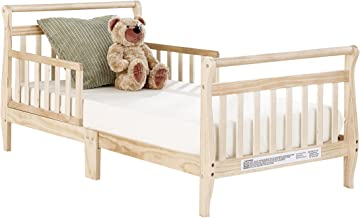 Big Oshi Classic Design Toddler Bed - Sturdy Wooden Frame for Extra Safety - Modern Slat Design is Great for Boys and Girls - Low to Ground - Full Bed Frame Set Including Headboard, Natural
