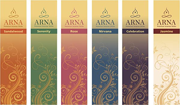 Arna Premium Incense Sticks Aromatherapy Variety Gift Pack 126 Sticks Total 21 Sticks Of Sandalwood Rose Celebration Serenity Nirvana Jasmine
