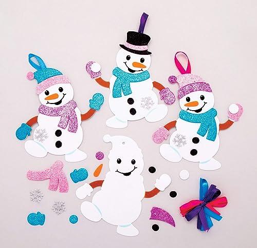 Baker Ross Kits de décorations Bonhomme de Neige à Assortir (Paquet de 6) - Loisirs créatifs de Noël pour Enfants AT160