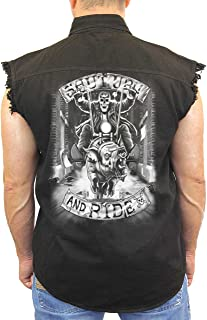 Men's Sleeveless Denim Shirt White Shut Up & Ride Biker