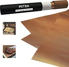 MiTBA Copper Grill Mats – Best Baking & Grilling Accessories Ever! These Non-Stick & Reusable Magic Gadgets Will Get You Flawless Meat and a Clean Barbecue! Set of 3 XL Mats in a Never-Lose-It Box!