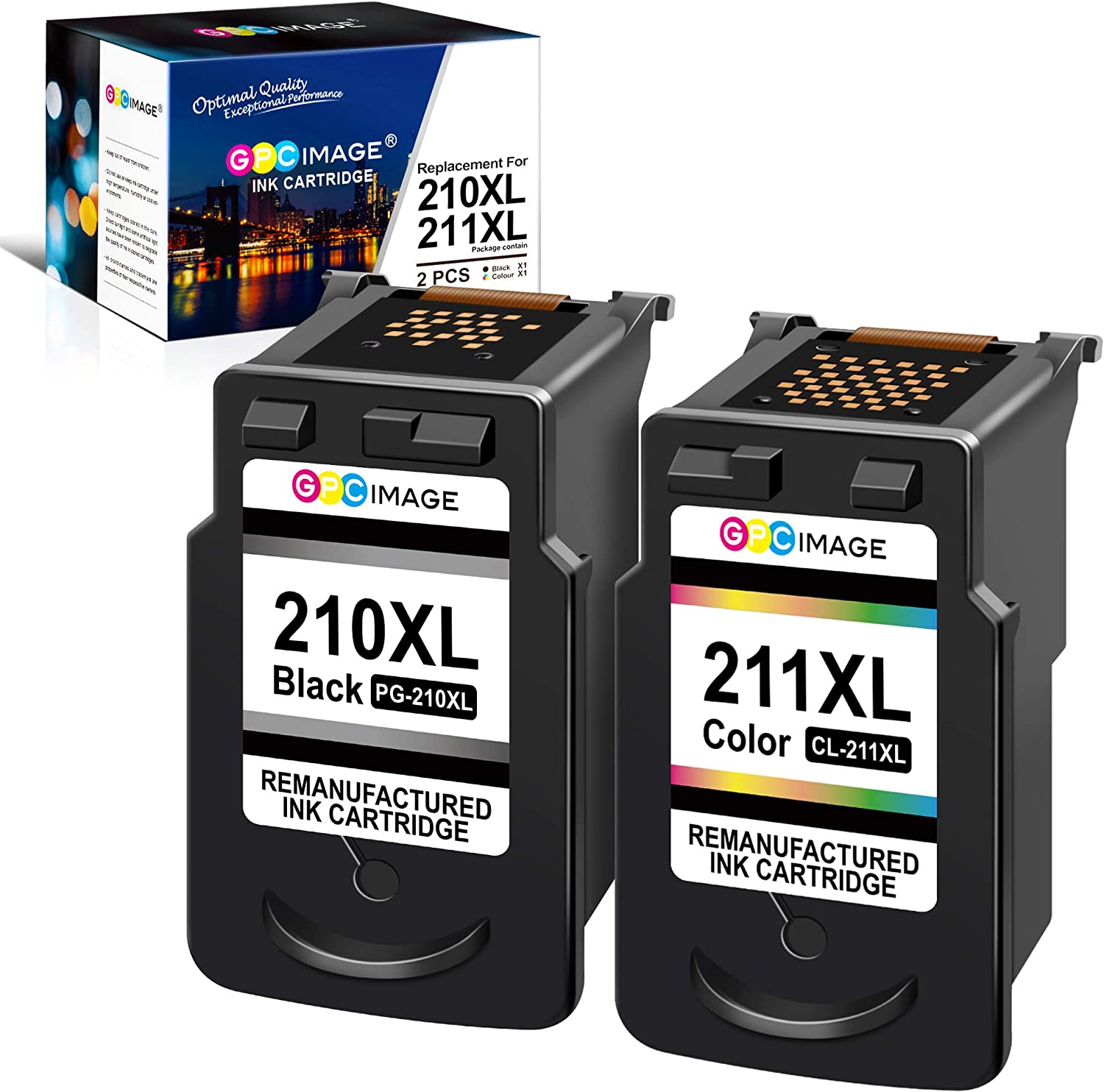 GPC Image Remanufactured Ink Cartridge Replacement for Canon PG-210XL 210XL CL-211XL 211XL to use with PIXMA MP240 MP230 MP480 IP2702 IP2700 MP495 MX420 MX330 MX340 Printer Tray (Black, Tri-Color)