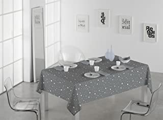 SABANALIA Mantel de Tela Antimanchas Rain Medidas, 140 x 250, Gris