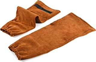 Leather Welding Work Sleeves | Cowhide Leather & Non-stick Liner | Heat & Flame Resistant Arm Protection Sleeve by QeeLink, 1 Pair (Brown)