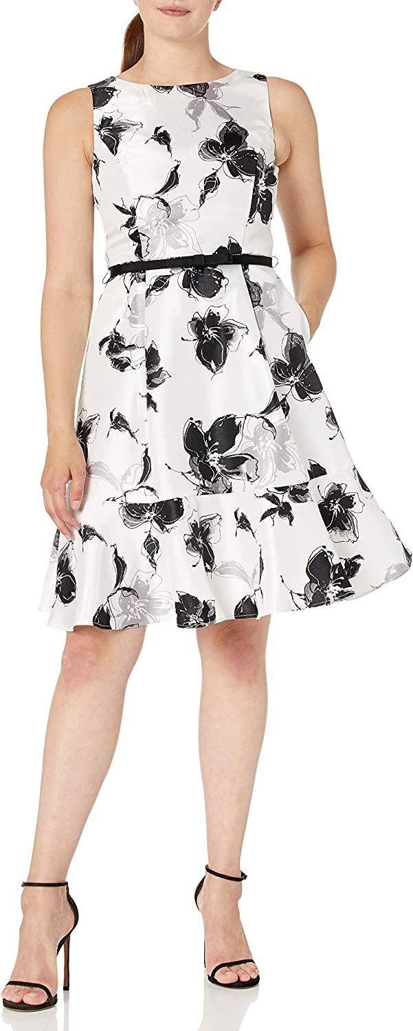Gabby Skye Women's Belted Fit and Flare Floral Dress