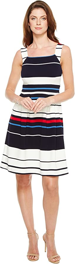 Sleeveless Ottom Stripe Fit and Flare Dress