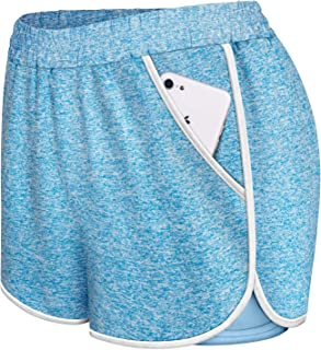 Koscacay Women's Activewear Running Bike Shorts Double Layer Quick-Dry Short with Pockets