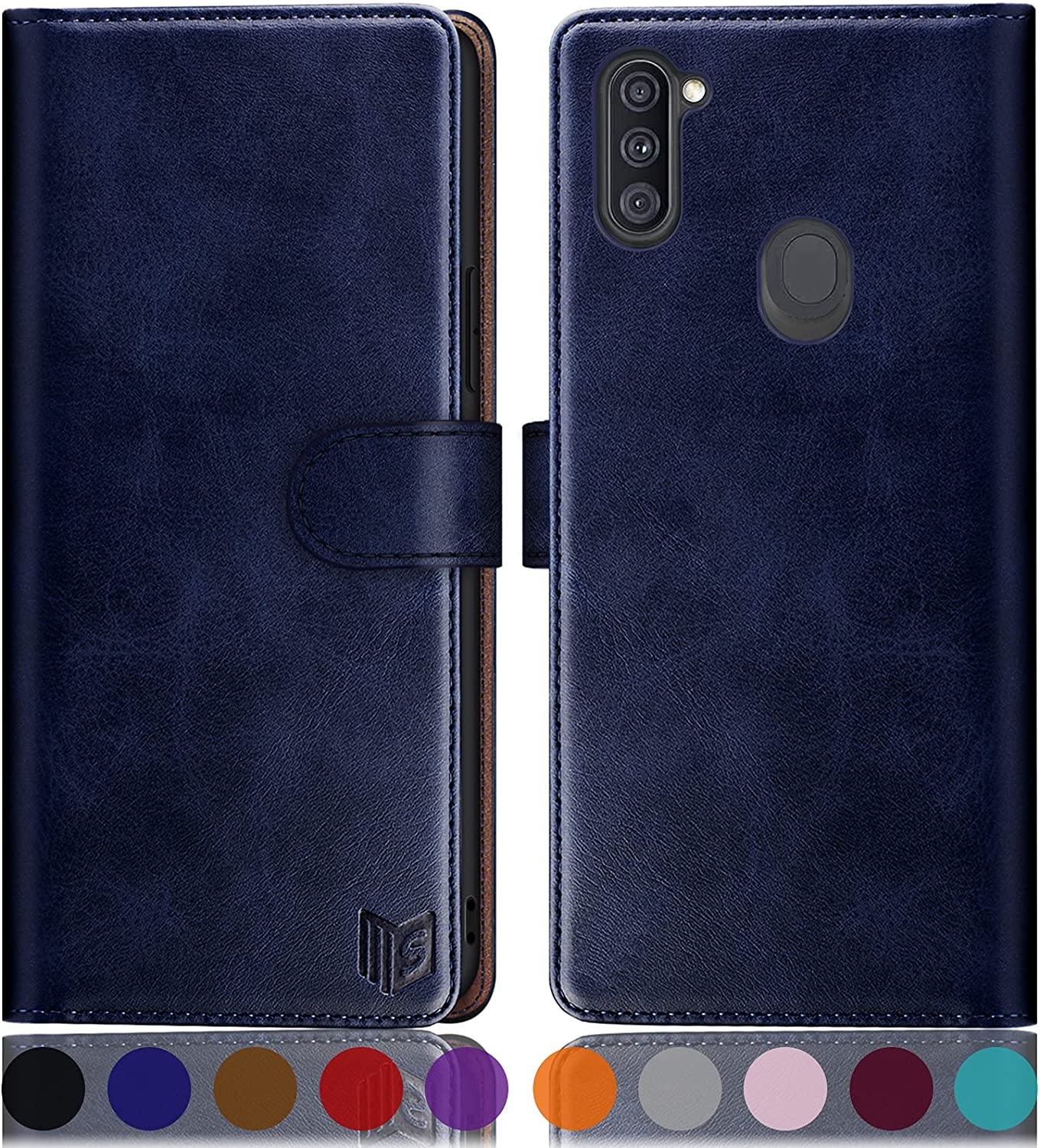 SUANPOT for Samsung Galaxy A11 with RFID Blocking Leather Wallet case Credit Card Holder, Flip Folio Book Phone case Shockproof Accessories Cover for Women Men for Samsung A11 case Wallet (Blue)
