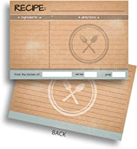 Home Advantage Recipe Cards (50) 4x6 Double Sided Lined Cookbook Index Cards, Vintage Rustic Kraft Design, Kitchen Organization, Bridal Shower
