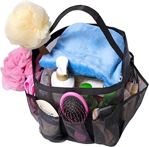 Attmu Mesh Shower Caddy, Quick Dry Tote Bag Oxford Hanging Toiletry and Bath Organizer with 8 Storage Compartments fo...