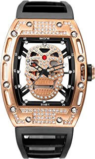 Skone Steampunk Skeleton Pirate Watch Men Skull Hollow Diamond Designer Cool Unique Fashion Style Quartz Wristwatch Silicone Leather Sports Christmas Gift