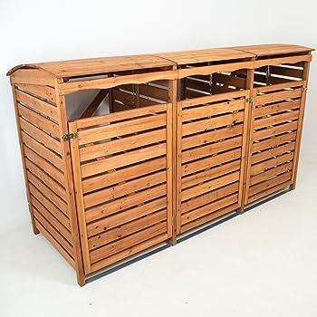 Mülltonnenbox Holz Mülltonnenverkleidung 3Mülltonnen 240l Müllcontainer Mülltonnenhaus Mülltonnenschrank
