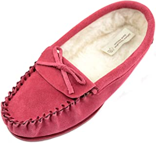 SNUGRUGS Ladies/Womens Suede Sheepskin Moccasins/Slippers with Wool Lining