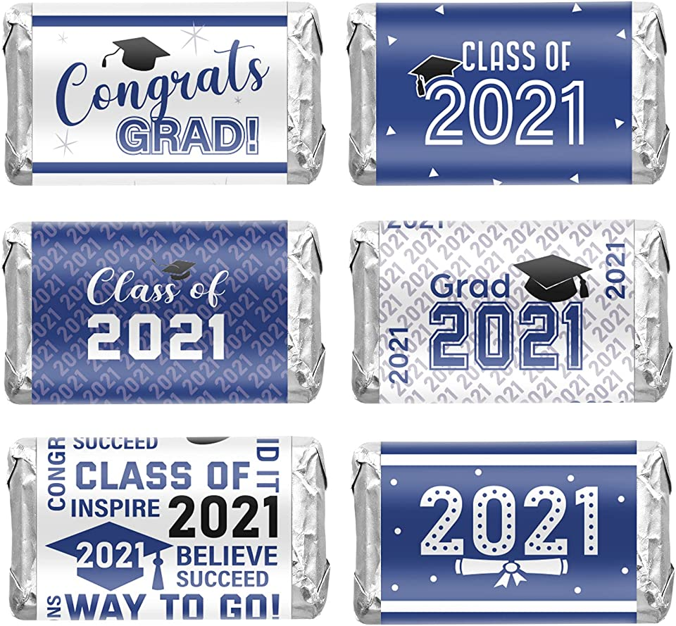 90 Pieces 2021 Graduation Decoration Label Sticker Congrats Mini Candy Bar Wrapper Class of 2021 Party Supply for High School, College, Nursing, Doctorate Graduation Celebration (Blue and White)