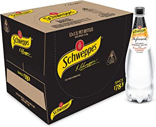 Schweppes Infused Natural Mineral Water with Blood Orange & Mango, 12 x 1.1L