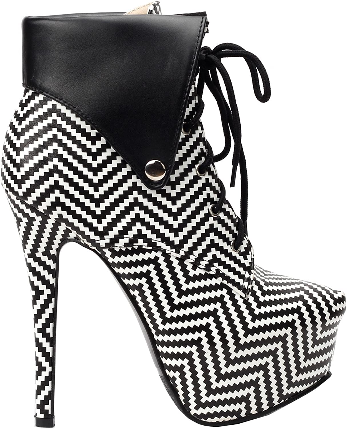 Show Story Black Beige Polka Dots Lace Up Stiletto Gothic Ankle Bootie,LF80832
