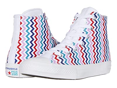 Converse Kids Chuck Taylor(r) All Star(r) Voltage (Little Kid/Big Kid) (White/University Red/Rush Blue) Girl