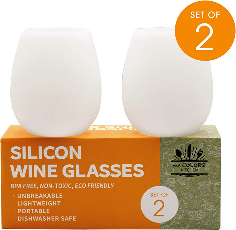 AndCOLORS SILICONE WINE GLASSES Set For Outdoor Parties Kids Birthdays Picnics Unbreakable Shatterproof 100 BPA Free Perfect For Travel Camping BBQ Pool Beach Dishwasher Safe Large Set Of 2