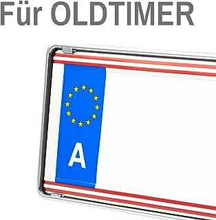 Eurosnap Oldtimer Kennzeichenhalter   Chromoptik   Für 1 Kennzeichen Österreich Inklusive Montageanleitung   Dezenter KFZ Kennzeichenrahmen für Kurze Kennzeichen   460 * 120mm