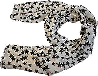 WHITE STARS or SKULL PRINT FASHION LADIES SCARF 150cm x 50cm UK SELLER BLACK