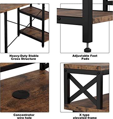 """IRONCK Industrial Computer Desk 55"""", Office Desk with Printer Monitor Shelf Storage Shelf CPU Stand, Studying Writing Tab"""
