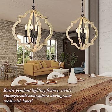 4-Light Farmhouse Chandelier Ceiling Light, Rustic Wood Hanging Light Orb Pendant Chandelier With Adjustable Hanging Chain, V