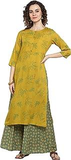 كورتا حريمي هندي من Janasya من الحرير الصناعي الأصفر الليموني مع بالازو