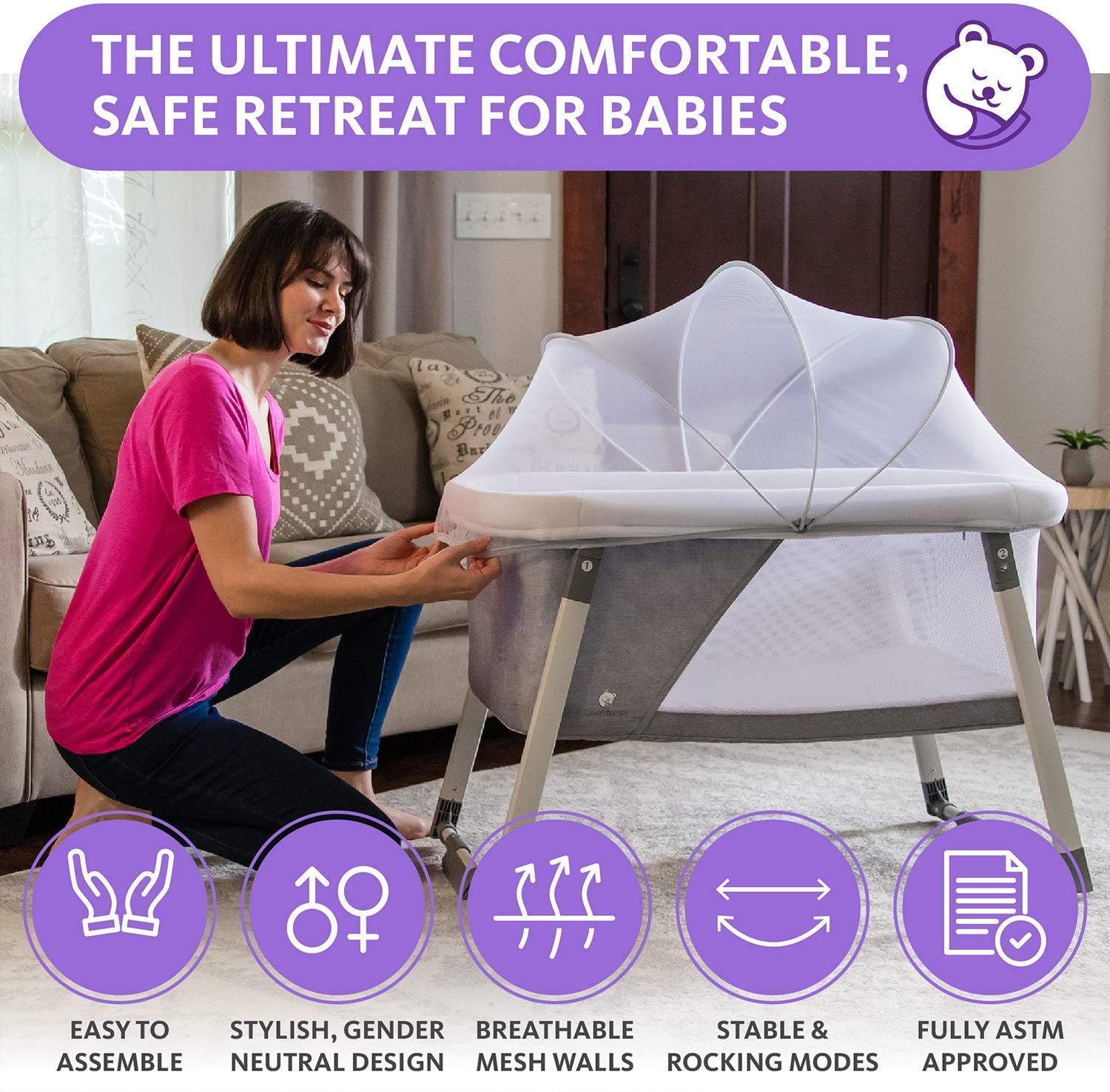Travel Bassinet for Baby - Rocking & Sturdy Cradle - Includes Carry Case, Mosquito Net, Mattress, Sheets, Infant Crib, and Urine Pad - Portable Bed Side Sleeper for Newborn Babies by ComfyBumpy