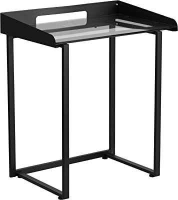 Flash Furniture Contemporary Clear Tempered Glass Desk with Raised-Cable Management Border and Black Metal Frame