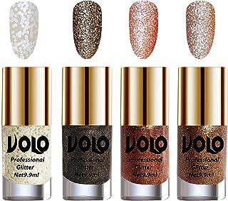 Volo Professionally Used Glitter Shine Nail Polish Combo Pack of 4(White Nail Art And Glitter, Dark Grey Glitter, Peach Gl...