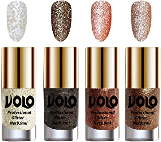 Volo Professionally Used Glitter Shine Nail Polish Combo Pack of 4(White Nail Art And Glitter, Dark Grey Glitter, Peach Glitter, Light Golden Glitter)