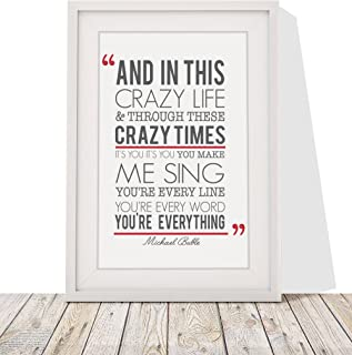 Michael Buble 'Everything' Song Lyrics Framed Print with Mount   12x10 Inch Wall Art Décor   Gift Idea for Him Her Wife Husband Couples