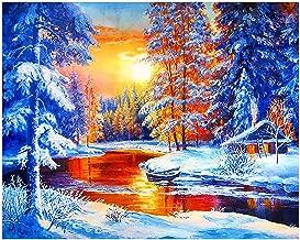 DIY Diamond Embroidery Landscape Snow Cross Stitch Diamond Painting Scenery Pattern Full Round Rhinestone Home Decor Gift,Red,6080cm