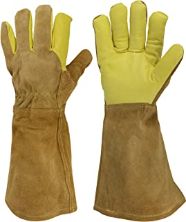 GoBold Heavy-duty Leather Gloves–Multi-use Hand & Arm Protection for Welding, Animal Handling, BBQ, Gardening & More–Heat, Scratch, Bite & Abrasion Resistant–Cotton & Canvas Lined–Storage Bag Included
