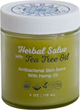 Herbal Healing Organic Hemp Salve with Tea Tree Oil, All Purpose Skin Nourishing Balm, Developed by a Mom, 4 ounces