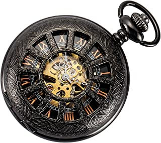 Skeleton Pocket Watch Special 12-Little-Window Case Design Men Black Mechanical with Chain Box