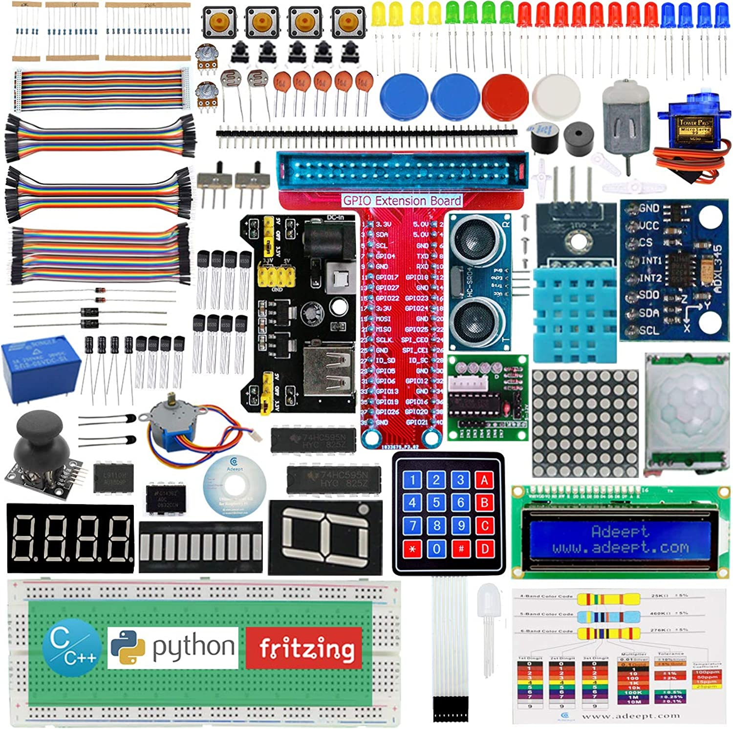 Adeept Neues Ultimate Starter Learning Kit für Raspberry Pi 3 2 Modell B   B+ Python ADXL345 GPIO Kabel DC-Motor