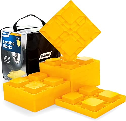 Camco 44510 Heavy Duty Leveling Blocks, Ideal for Leveling Single and Dual Wheels, Hydraulic Jacks, Tongue Jacks and ...