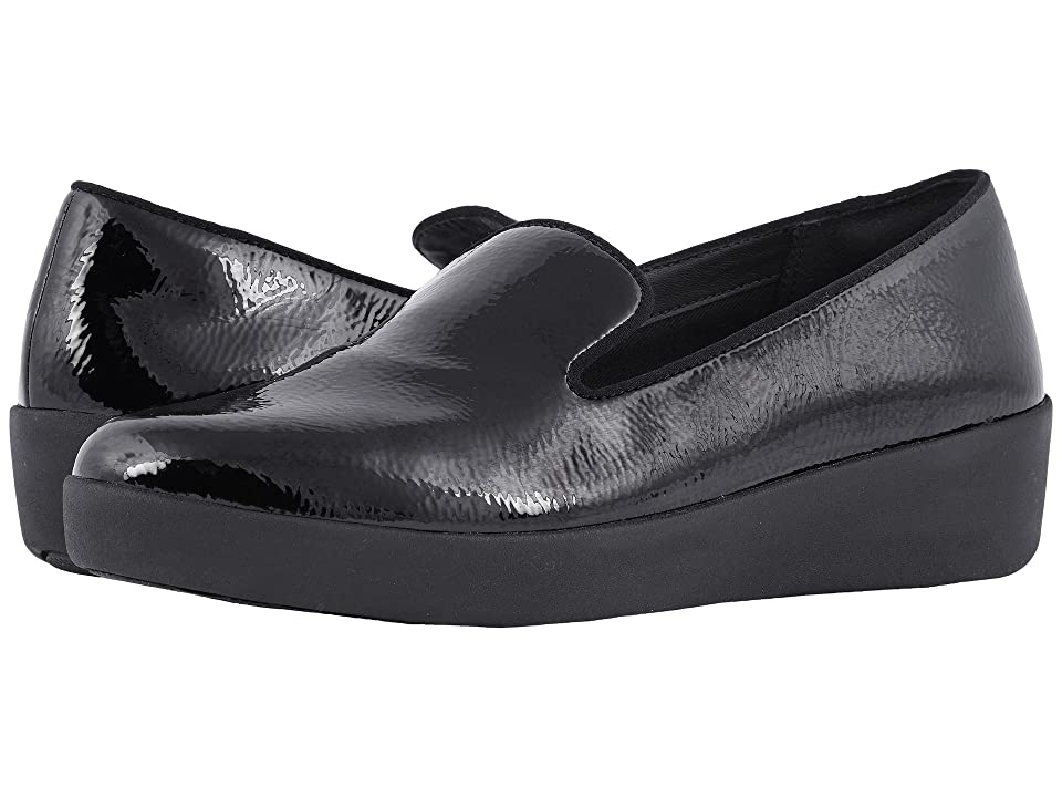 4da104cf9e037f FitFlop Audrey Crinkle Patent Smoking Slippers (Black) Women s Shoes