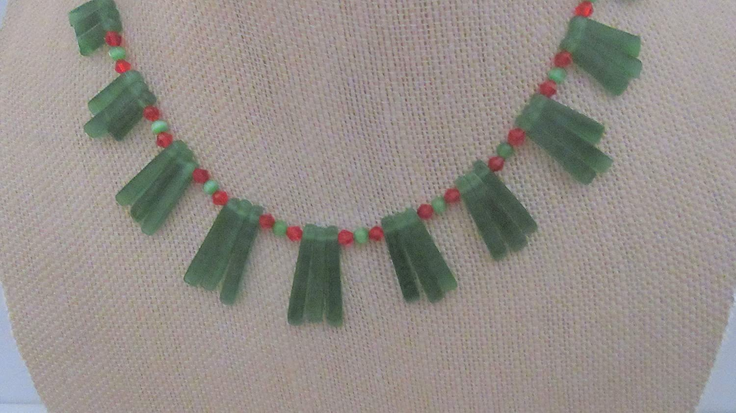 Christmas Emerald Green Credence Cats Daily bargain sale Eye Sterling Necklace Red Swarovski