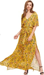 3bd9a9ca97 Milumia Women s Boho Split Tie-Waist Vintage Print Maxi Dress