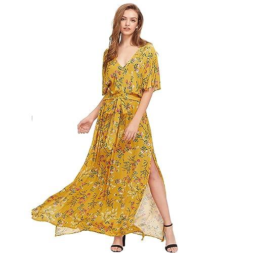 abb0f5c34df57f Milumia Women's Boho Split Tie-Waist Vintage Print Maxi Dress
