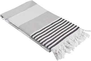 InfuseZen Oversized Turkish Towel, Soft Terry Cloth Back, Turkish Bath Towel, Beach Towel, Extra Large Peshtemal Bath Sheet for Plus Size, Nautical Style Thin Hammam Towel, Cotton Fouta (Grey Black)